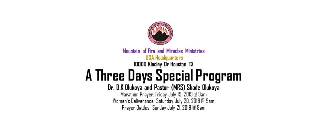 Welcome to Mountain of Fire and Miracles Ministries, Chicago